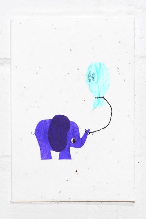 Happy Elephant with Balloon - Eco Card