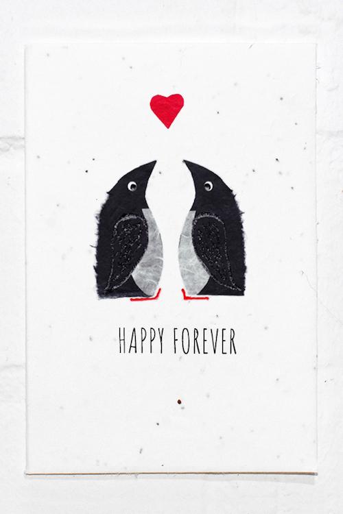 Penguins Wedding - Engagement - Anniversary - Valentines Eco Card