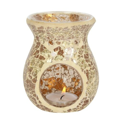 SMALL GOLD CRACKLE GLASS WAX OIL BURNER