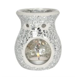 SMALL SILVER CRACKLE GLASS WAX OIL BURNER