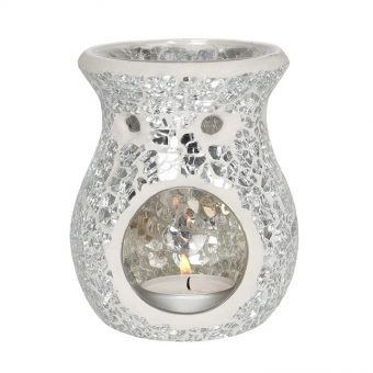 SMALL SILVER CRACKLE GLASS OIL/WAX BURNER