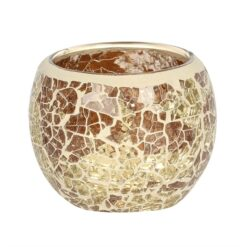 SMALL GOLD CRACKLE GLASS CANDLE HOLDER