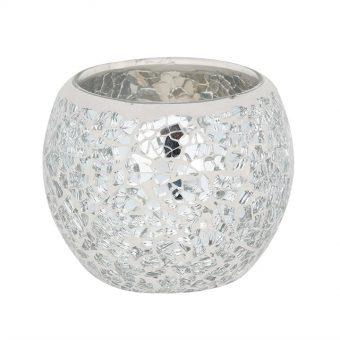 SMALL SILVER CRACKLE GLASS CANDLE HOLDER