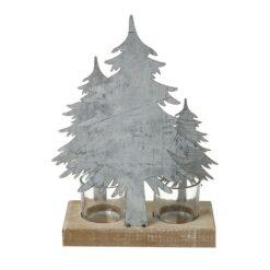 METAL & WOOD FIR TREE TEALIGHT HOLDER