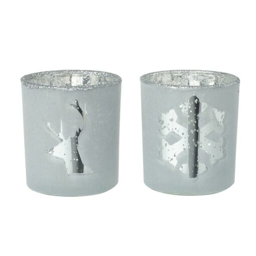STAG & SNOWFLAKE GLASS TEALIGHT HOLDERS