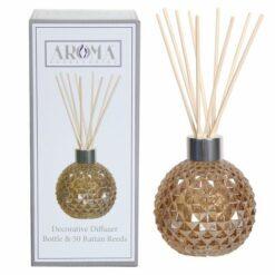 Amber Lustre Decorative Glass Diffuser Bottle & 50 Rattan Reeds