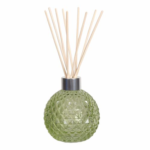 Green Decorative Glass Diffuser Bottle & 50 Rattan Reeds