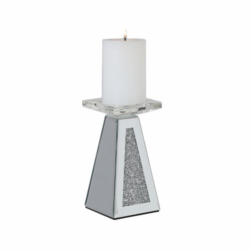 Small Jewelled Mirror Pillar Candle Holder