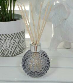 Grey Decorative Glass Diffuser Bottle & 50 Rattan Reeds