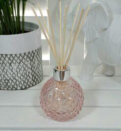 Pink Decorative Glass Diffuser Bottle & 50 Rattan Reeds